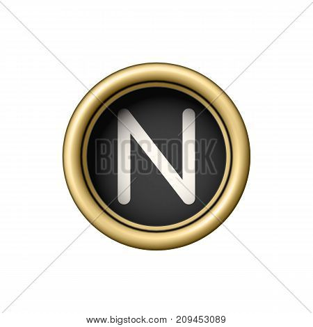 Letter N. Vintage golden typewriter button isolated on white background. Graphic design element for scrapbooking, sticker, web site, symbol, icon. Vector illustration.