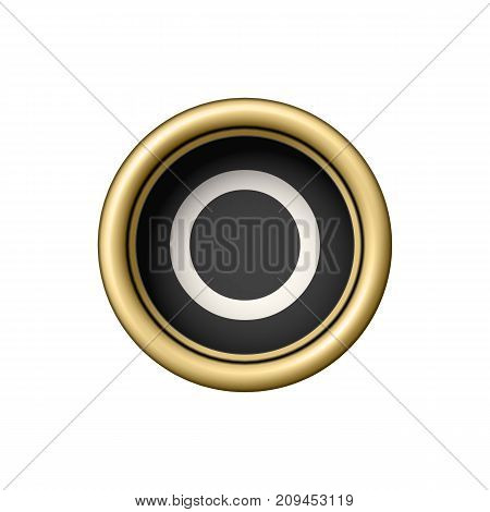 Letter O. Vintage golden typewriter button isolated on white background. Graphic design element for scrapbooking, sticker, web site, symbol, icon. Vector illustration.