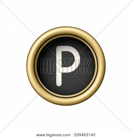 Letter P. Vintage golden typewriter button isolated on white background. Graphic design element for scrapbooking, sticker, web site, symbol, icon. Vector illustration.