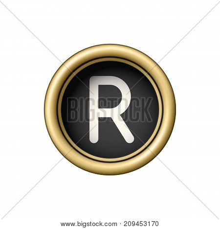 Letter R. Vintage golden typewriter button isolated on white background. Graphic design element for scrapbooking, sticker, web site, symbol, icon. Vector illustration.
