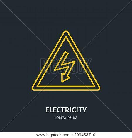 Electricity flat line icon. High voltage danger sign. Warning, electrical safety illustration.