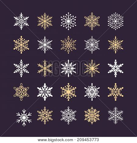 Cute snowflakes collection isolated on dark background. Flat snow icons, snow flakes silhouette. Nice element for christmas banner, cards. New year ornament. Organic and geometric snowflake set.