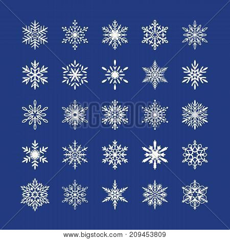Cute snowflakes collection isolated on blue background. Flat snow icons, snow flakes silhouette. Nice element for christmas banner, cards. New year ornament. Organic and geometric snowflake set.