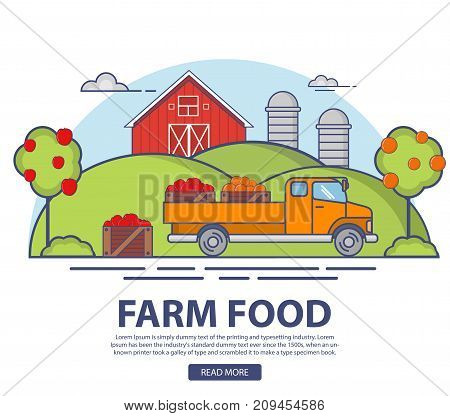 Farm orchard with apple and orange trees harvest. Ripe fruits.Natural ecological product.Delivery truck of wooden boxes.In flat linear style a vector. Agriculture landscape barn house.Summer garden