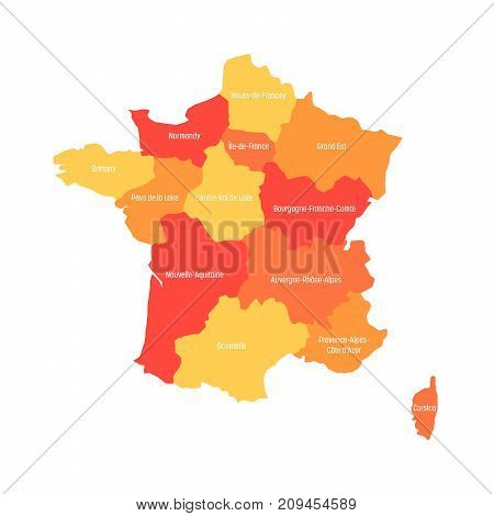 Map of France divided into 13 administrative metropolitan regions, since 2016. Warm colors. Vector illustration.