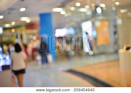 Abstract Blurry Background Of Retail Shops In Shopping Mall