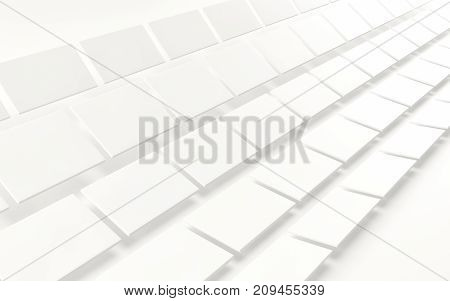 Abstract array of shinny white cubes on white background. 3d rendering