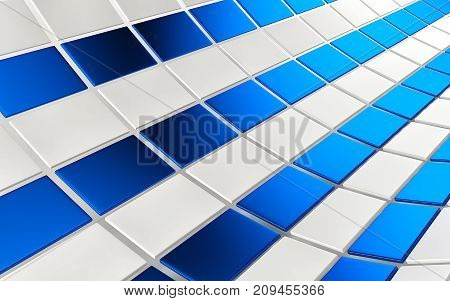 Abstract array of shinny blue and white cubes on white background. 3d rendering