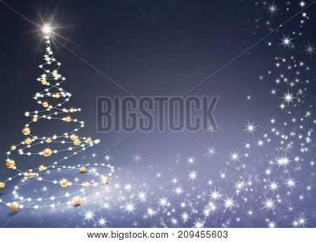 Christmas tree illustrated with light strings and gold Christmas balls on a glittering black background - 3D illustration
