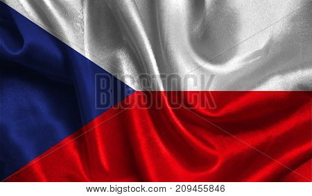 Realistic flag of Czech Republic on the wavy surface of fabric. This flag can be used in design.