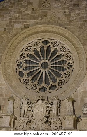 View of the rose window of the Otranto Cathedral poster