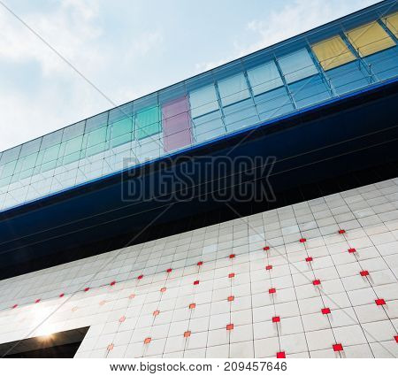 modern office buildings exterior,detail shot,shanghai,china.