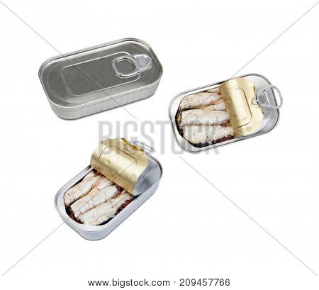 Three cans of canned sardine . Healthy meal