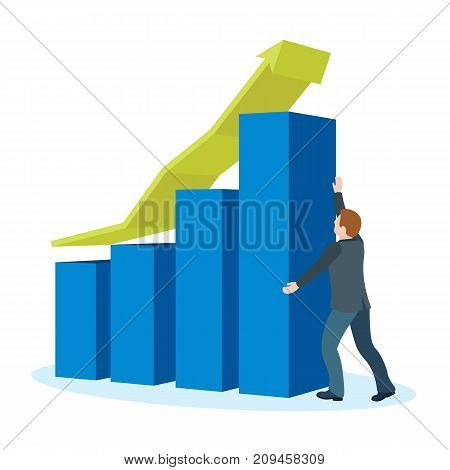 Increase business profits. Banner in a flat 3d style. Sales growth and revenue, business development. A man in a business suit holds an arrow. Objects on a blue background. Raster image