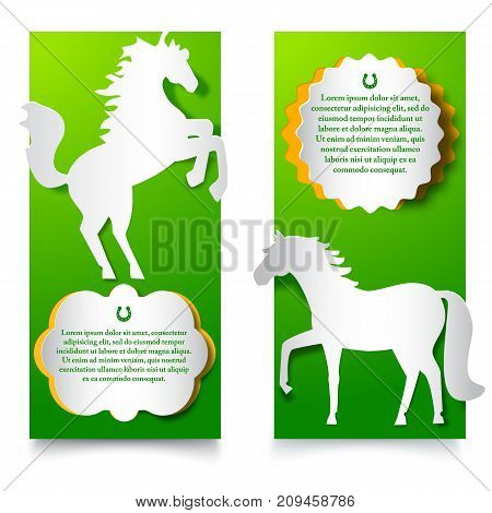 New year 2014 vertical banners set with jumping horse application cut from white paper at green background flat vector illustration