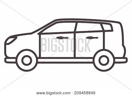 Car hatchback in linear style.Icons with the vehicle.Transportation outline style.Design element for the websites, leaflets, car services, travel companies, children's goods and toys.