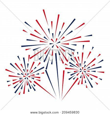 Celebratory fireworks on a white background. Vector illustration