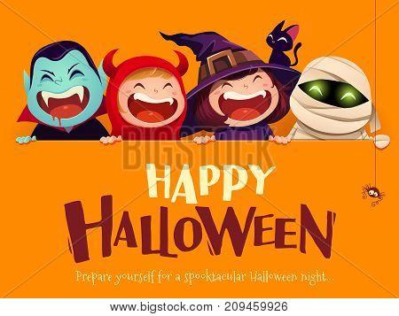 Happy Halloween Party. Group of kids in halloween costume with big signboard. Orange background.