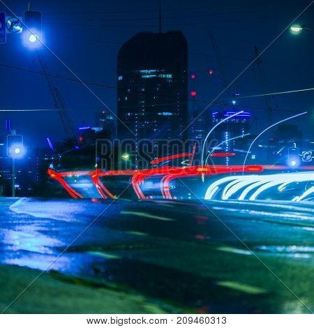 Brisbane, Australia - Saturday 14Th October, 2017: View At Night Of Traffic On The Road At West End