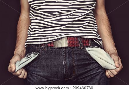 The Young Man Turns A Pants Pocket