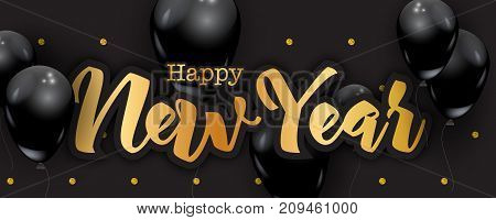 Happy New Year handwriting letters gold glitter dots background black balloons luxury New Year greeting card concept vector illustration. 2018 New Year celebration graphic design elements.