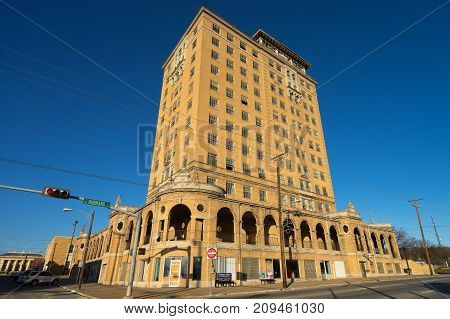 December 24 2015 Mineral Wells Texas USA: plans were announced to renovate and reopen the building of long time abandoned Baker Hotel