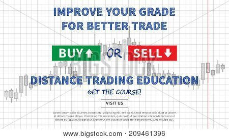 Distance trading education vector illustration. Web banner remote education for traders graphic design. Promotion banner creative concept.