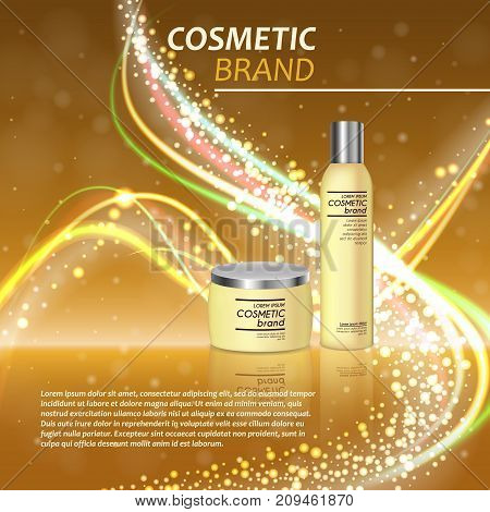 3D Realistic Cosmetic Bottle Ads Template. Cosmetic Brand Advertising Concept Design With Glitters A