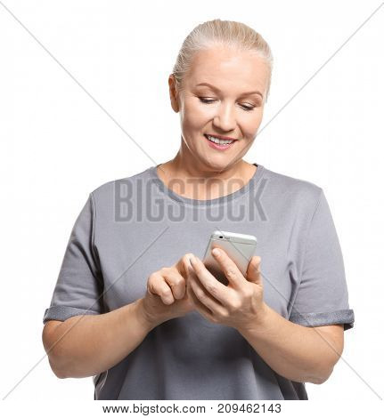 Senior woman using cell phone, isolated on white