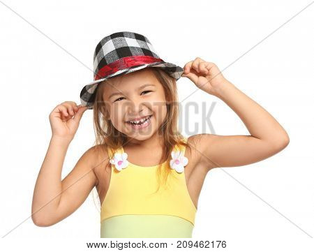 Adorable little girl in plaid hat on white background