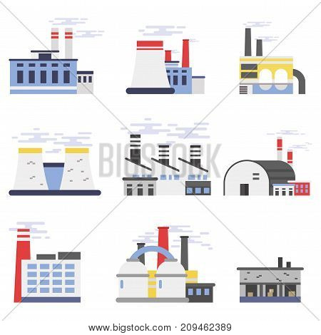 Industrial factory buildings set, power and chemical plant vector illustrations isolated on a white background