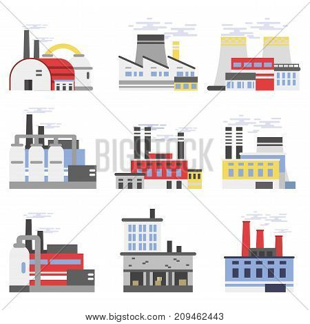 Industrial manufactory buildings set, power and chemical plant, factory vector illustrations isolated on a white background