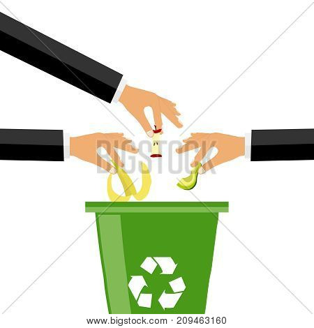 The hand throws garbage into the garbage can, many hands throwing out garbage. Flat design, vector illustration, vector.