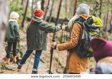 Parents And Kids Trekking In Forest