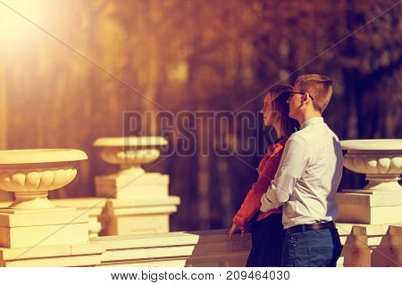 Happy Young Couple In Love In The Manor House In Autumn. Vintage Tone