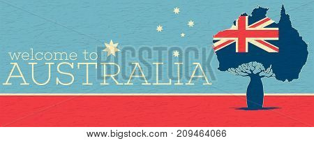 Welcome to Australia vintage poster with australian patriotic symbols. World traveling minimalistic concept, touristic tour advertisement, authentic country culture vector illustration.