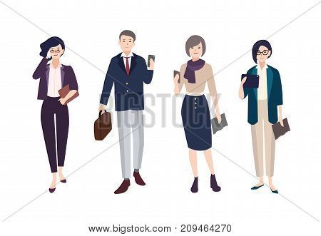 Collection of people dressed in smart clothing. Set of male and female clerks or office workers. Bundle of men and women wearing business clothes with gadgets. artoon characters. Vector illustration