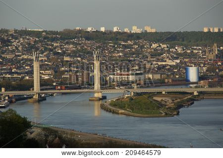 PANORAMIC VIEW OF THE CITY OF ROUEN.NORMAN REGION, SITUATED IN FRANCE.