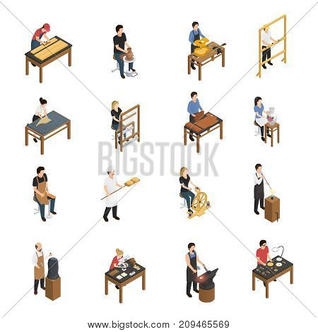 Artisan isometric set with baker glassblower carpenter tailor weaver potter shoemaker carpenter blacksmith sculptor ceramic artist figurines isolated vector illustration