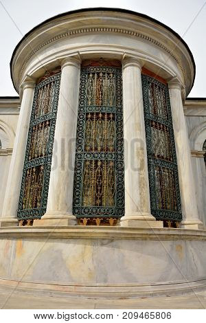 Istanbul Turkey - April 22 2017. Elements of exterior design of the Tomb of Sultan II Mahmud in Istanbul with ornate ironwork.