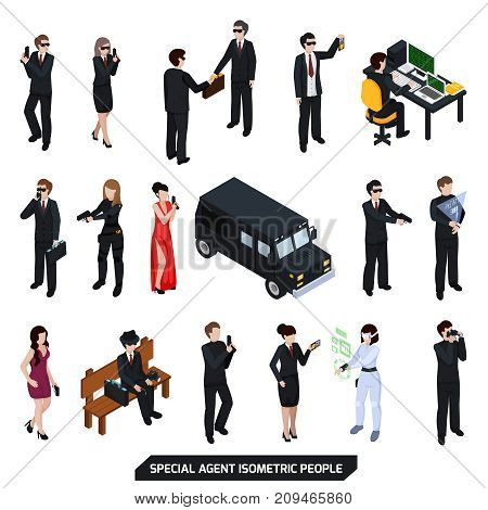 Special agent set of isometric people with sexy women, men in black with handgun isolated vector illustration