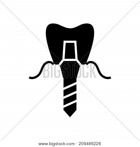 implanted tooth - denture implant icon, illustration, vector sign on isolated background