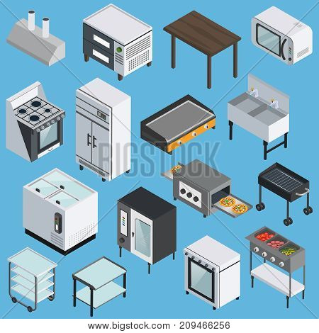 Professional kitchen furniture equipment appliances  with microwave grill refrigerator range stove isometric icons collection isolated vector illustration