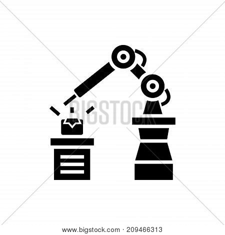 industrial automation icon, illustration, vector sign on isolated background