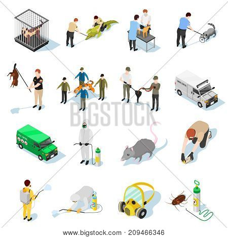 Pest control isometric icons set of animals insects and people used in catching and destruction of parasites vector illustration
