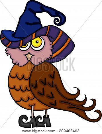Scalable vectorial image representing a Halloween cute owl, isolated on white.