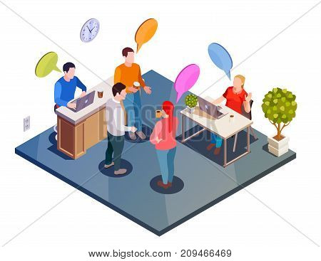 Coworking people isometric composition with office workspace environment and faceless human characters with flat thought bubbles vector illustration