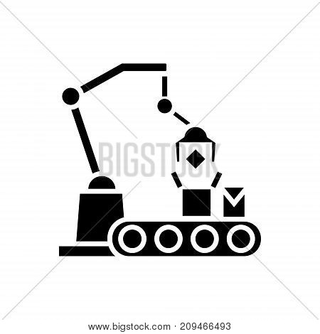 industrial robot line icon, illustration, vector sign on isolated background