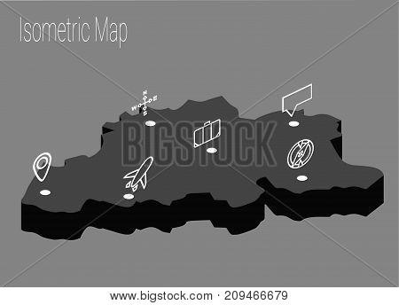 Map Belgium isometric concept. 3d flat illustration of Map Belgium.