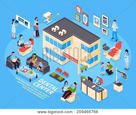 Dental center isometric design concept with set of kids parents clinic staff and medical equipment icons on blue background vector illustration